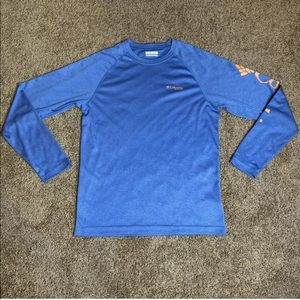 Columbia PFG Shirt Mens Size Small Blue Fishing